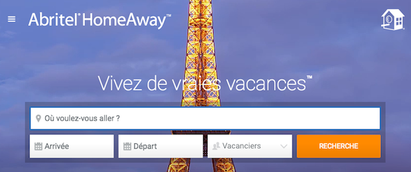 Image page d'accueil site Abritel Homeaway 2016