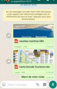 Un echange whatsapp avec un voyageur - Medoc Plein Sud