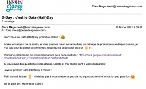 Mail de lancement du Data-Half-Day