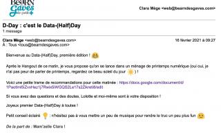 Mail de lancement du Data-Half-Day